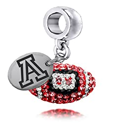 Arizona Wildcats Sterling Silver Crystal Football College Dangle Charm Jewelry