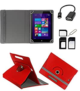 ECellStreet ROTATING 360° PU LEATHER FLIP CASE COVER FOR iBall Slide Stellar A2 7 INCH TABLET STAND COVER HOLDER - Red + Free OTG Cable + Free Sim Adapter Kit