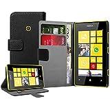 Negra Cartera Funda para Nokia Lumia 520 - Flip Case Cover + 2 Protector de Pantalla
