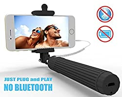 B-Kool Selfie Stick, Quicksnap Pro 3-in-1 Self-Portrait Monopod Extendable Wireless Bluetooth Selfie Stick (Wired Black)