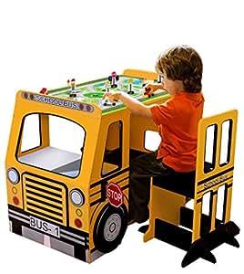 Amazon Com Teamson Kids School Bus Play Table And Chair