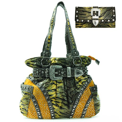 Ritz Enterprises BT9388WB108Set-YL Womens Belted Animal Print Shoulder Bag With Croco Trim & Matching Wallet- Black