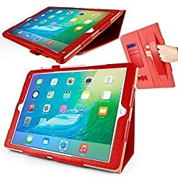 Orzly® Multifunctional Case for Apple iPad Pro (2015 Model) - Tablet Cover in RED with Auto Sleep Sensors, Built in Stand, Hand Strap, & Stylus Pen