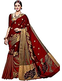 Kesar Fashion Women's Cotton Silk Saree (KR_sober_white_off White_Free Size)