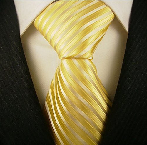 Scott Allan Mens Striped Necktie - Yellow and Silver (Men Ties Yellow compare prices)