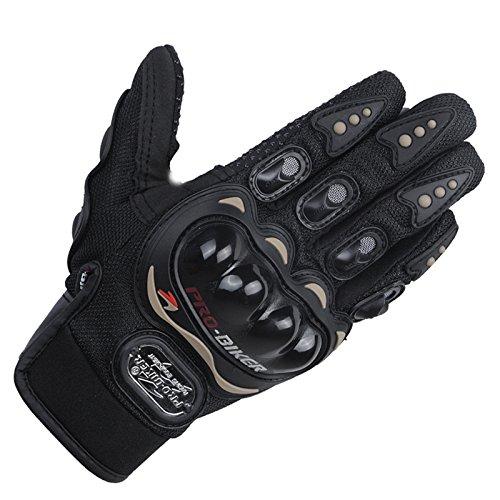 Carbon Fiber Motorcycle Power sports Racing Gloves (Black, M)