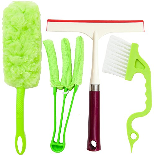 Window Cleaning Tools: 1 Microfiber Mini Blind Duster, 1 360° Microfiber Duster, 1 Window Sash Track Cleaning Brush and 1 Window All-Purpose Squeegee, 8-Inch Wide | 4 Piece Cleaning Set. (Air Duct Cleaning Brush compare prices)