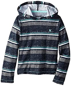 Hurley Little Boys' Dunes Long Sleeve T Shirt, Dark Obsidian, 4