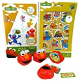 Elmo Party Favor/activity Supply Pack Bundle Includes: 6 Elmo Fillable Heads, 4 Pages of Elmo Stickers, 1 Cutting Practice Activity Pad