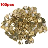 100Pcs Small Triangle D-Ring Picture Frame Hangers Single Hole with Screws