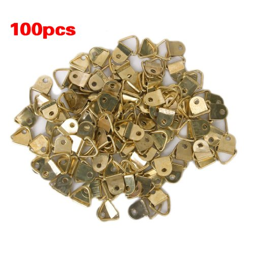 100Pcs Small Triangle D-Ring Picture Frame Hangers Single Hole with Screws (Small Picture Hangers compare prices)