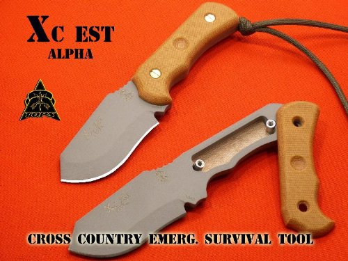 Tops Knives Xcest Alpha Knife W/ Tan Sheath & Survival Kit Xcest-A-Tan