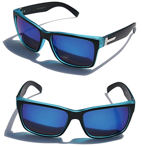large-mens-women-matte-square-retro-sunglasses-black-frame-color-mirror-lens-150mm-wide-blue