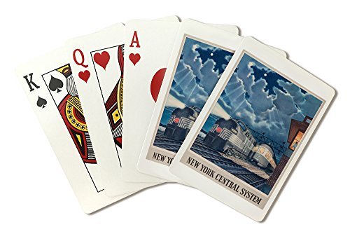 New York Central System - Trains That Pass in the Night - (artist: Gascon c. 1948) - Vintage Advertisement (Playing Card Deck - 52 Card Poker Size with Jokers) (Central Train New York Poster compare prices)