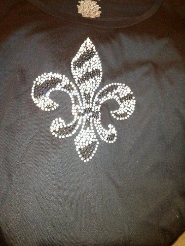 Sz M Ss Scoop Neck Black T-Shirt With Zebra Fleur De Lis