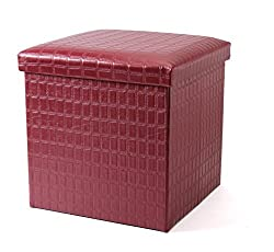 EZ Life Folding Ottoman Storage Box cum Stool- Elegant Square Pouf - Red Maroon - Faux leather and high density fibre board