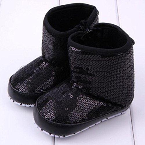 DZT1968® Baby Winter Soft Sole Anti Slip Sequins Prewalker Shoes Sneakers Snow Boots Socks (3~6 months, Black)