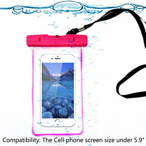 Touching防水ケース 防水カバー バッグ スマホン防水袋 携帯防水ケース ガード ネックストラップ付き 夜光反射可能 iPhone4/4s/5/5s/5c/6/6plus Z1/Z2/Z3/Z4 全機種対応防水袋 IPX8 アウトドア レジャー お風呂 温泉 泳げ 遊泳 海辺 潜水 漂流 フローティング時に小銭 携帯など小物を収納できます! (ピンク)