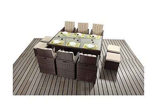 Sydney Rustikal Balkon Garten Möbel 6-Sitzer Cube Set