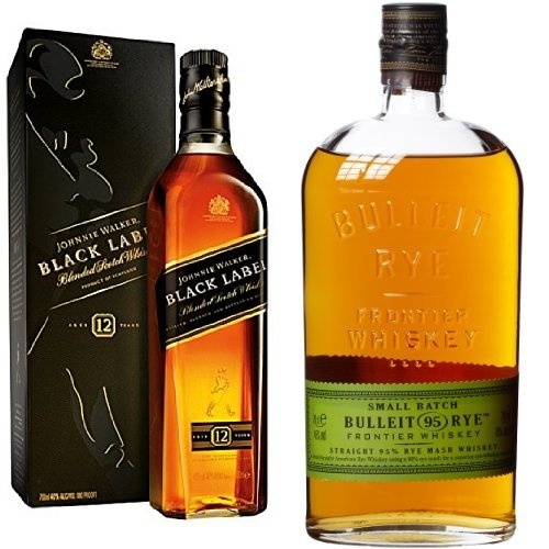 discount duty free Bundle: Johnnie Walker Black Label Blended Scotch Whisky 70cl and Bulleit '95' Rye Frontier Whiskey 70cl