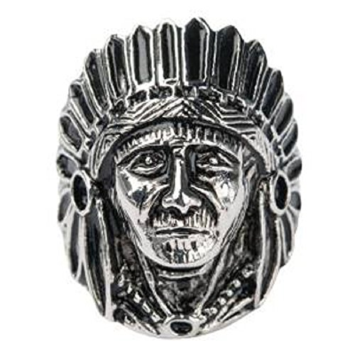 Men'S Stainless Steel Black Oxidize Native American Chief Face Ring.