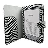Leather Folio Case for Amazon Latest Generation 2011 Kindle 4 Non Touch Wi-Fi 6 - Inch E Ink Display - ZEBRA DESIGN and Screen Protector