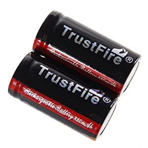 TrustFire Protected 16340 880mAh 3.7V Rechargeable Li-Ion Batteries Battery (2-Pack)