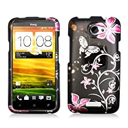 Aimo Wireless HTCONEXPCIMT071 Hard Snap-On Image Case for HTC One X - Pink/Flowers and Butterfly