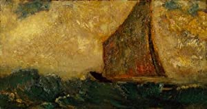 The Mystical Boat by Odilon Redon Wall Decal - 18 Inches W x 10 Inches H - Peel and Stick Removable Graphic
