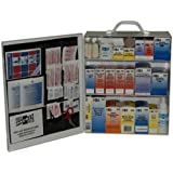 "Pac-Kit 6155 493 Piece Steel Cabinet Industrial 3 Shelf First Aid Station with Wall Mount Slots and Handle, 17.5"" Height x 13.5"" Width x 6"" Depth"