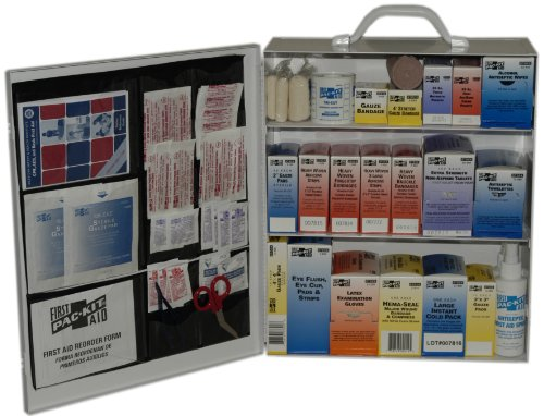 Pac-Kit 6155 493 Piece Steel Cabinet Industrial 3 Shelf First Aid Station with Wall Mount Slots and Handle, 17.5