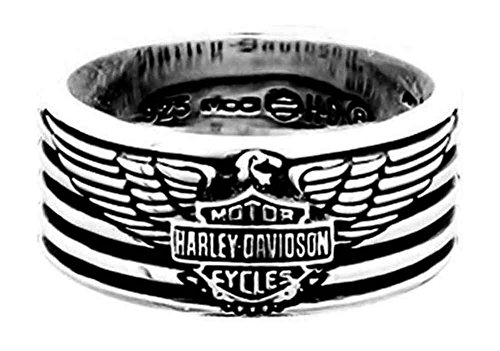 Harley-Davidson Men's Eagle & Stripes Band Ring, Sterling Silver HDR0381 (11)