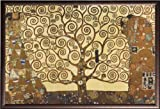 Gustav Klimt Tree of Life Gold Contrast 24x36 Dry Mount Poster Rust Wood Framed