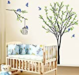 Spring Birds Green Leaves Tree Wall Stickers Art Decor Mural Decal Sticker