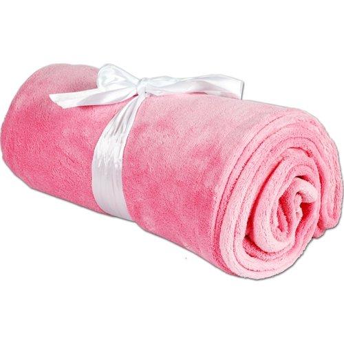Super Soft Plush Fleece Blankets - By Threadart - Light Pink - 9 colors available