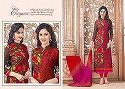 Khodiyar Fashion Brown Cotton Dress Materials