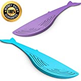 Wishstone Big Whale Colander - Strainer - Food Safe Plastic- Set of 2- Blue and Purple - A Good Addition To Nessie Soup Loch Ness Monster Ladle & Pastasaurus Pasta Server