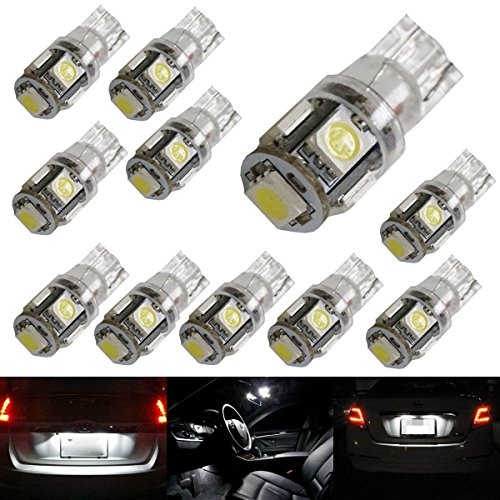 iJDMTOY ® (10) 5-SMD-5050 168 194 2825 W5W LED Replacement Bulbs For Car Interior Map/Dome Lights, License Plate Lights, Parking Lights, Xenon White (Chevy Cruze White compare prices)