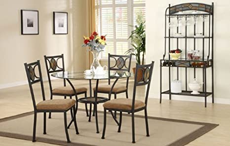 "Inland Empire Furniture Five Piece Metal 45""Dia Beveled Glass Top Dining Set with Wine RaCalifornia King"