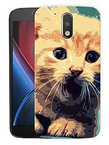 "Cat Poster ArtPrinted Designer Mobile Back Cover For ""Motorola Moto G4 PLUS"" (3D, Matte, Premium Quality Snap On Case)"