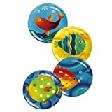 Grasslands Road Studio 100 Making Waves Handpainted Fish 8-1/4-Inch Bright Fish Plates, Four Styles, Set of 8