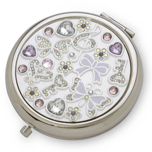 Silver Plated Compact Mirror - with Austrian crystals - Butterflies and Keys design ideal 18th or 21st Birthday gift for a girl - Ideal ladies gift