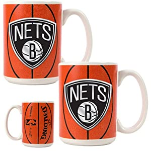 NBA New Jersey Nets Two Piece Ceramic Gameball Mug Set - Primary Logo by Great American Products