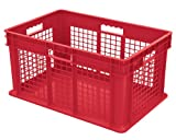 Akro-Mils 37672 24-Inch by 16-Inch by 12-Inch Straight Wall Container Plastic Tote with Mesh Sides and Solid Base, Case of 3, Red