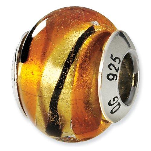 Sterling Silver Gold & Black Italian Murano Bead