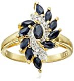 Yellow Gold-Plated Sterling Silver Sapphire with  Spiral Ring