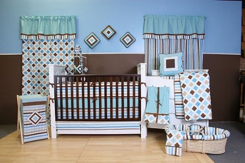 Mod Dia/Strps Aqua 6pc Crib Set - 1