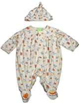 Snopea - Newborn and Infant Boys Long Sleeve Yum Yum Jumpsuit Coverall, Ivory, Orange 29274-12Months