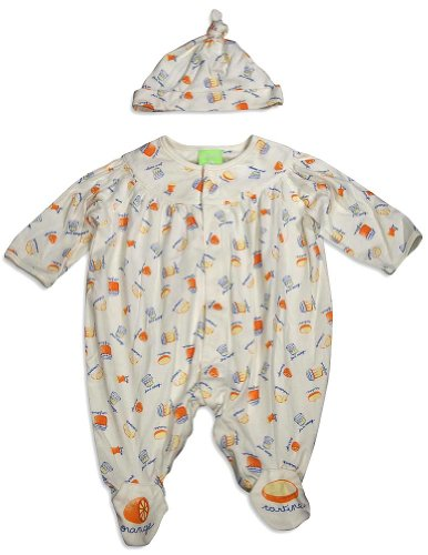 Snopea - Baby Boys Long Sleeve Yum Yum Jumpsuit Coverall, Ivory, Orange 29274-12Months front-614468