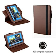 Exact (TM) 360 Degree Rotary Leather Case For Samsung Galaxy Note 10.1 Inch N8000 N8010 Tablet Brown